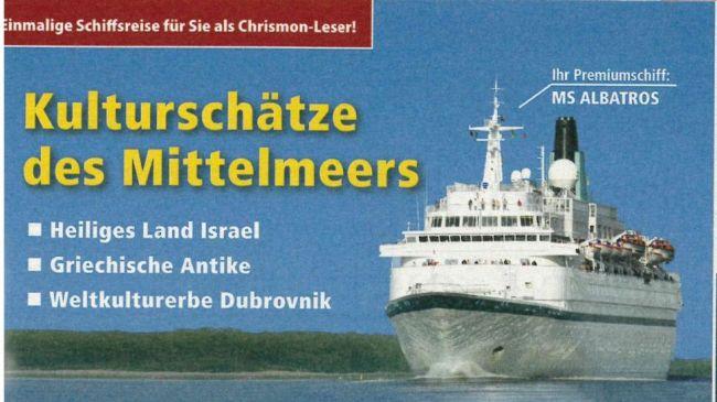Eignet sich nicht zur Weltrettung: Die MS Albatros. Grafik: Chrismon / RIW Touristik gmbH