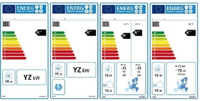 Die verschiedenen Label für Heizgeräte. Quelle: Europäische Kommission