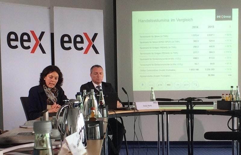 EEX-Finanzchefin Iris Weidinger und CEO Peter Reitz mit ihren sehr, sehr guten Zahlen für 2015. Foto: Urbansky