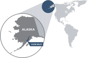 Hier liegt das Cook Inlet mit seinen reichen Gas und Ölvorkommen. Foto/Grafik: DOGSA