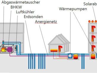 Schema des kalten Wärmenetzes in Berlin-Zehlendorf. Grafik: Geo-En