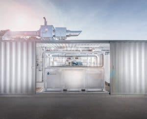 Container mit einer reversiblen Elektrolyse. Foto: Sunfire Brennstoffzelle, Wasserstoff