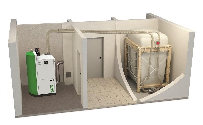 Mögliches Anlagenmodell eines Pelletlagers mit einem fertigen Tank. Bild: Oekofen Pelletlager, Brennholz, VDI 3464