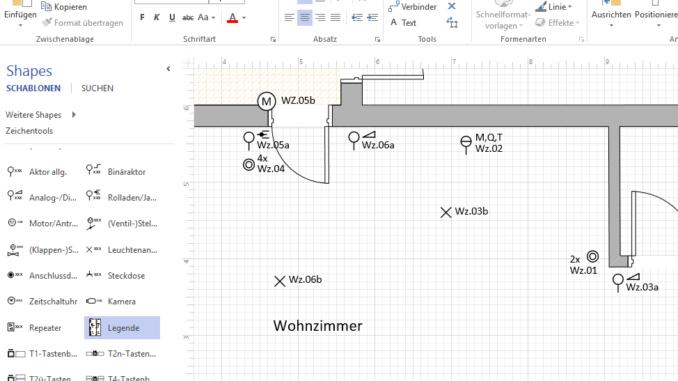 Grundrissplanung mit Automationssymbolen. Grafiken: IGT