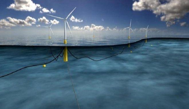 Der Hywind-Park vor der schottischen Nordseeküste kann 22.000 Haushalte versorgen. Die fünf Windkraftanlagen schwimmen im Meer auf beschwerten Bojen. Foto: Statoil