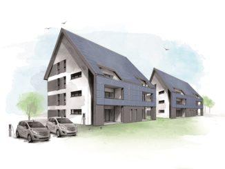 Die Steilheit der Dächer ist speziell auf die solare Produktion im Winter ausgerichtet. Foto: eG Wohnen