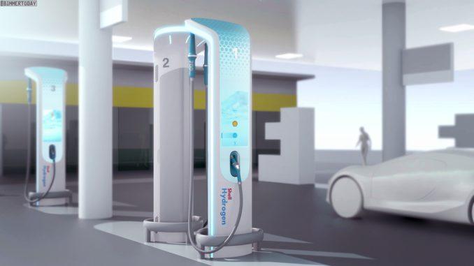 Tankstellendesign von Shell und BMW, hier für Wasserstoff. Grafik: Shell