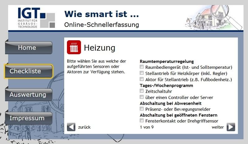"""Checkliste als """"Online-Schnellerfassung"""". Grafik: IGT"""