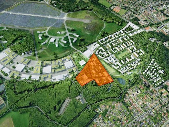 Plan für das energetische Nachbarschaftsquartier (ENaQ) auf einer Teilfläche des ehemaligen Fliegerhorst-Geländes in Oldenburg. Grafik: DLR