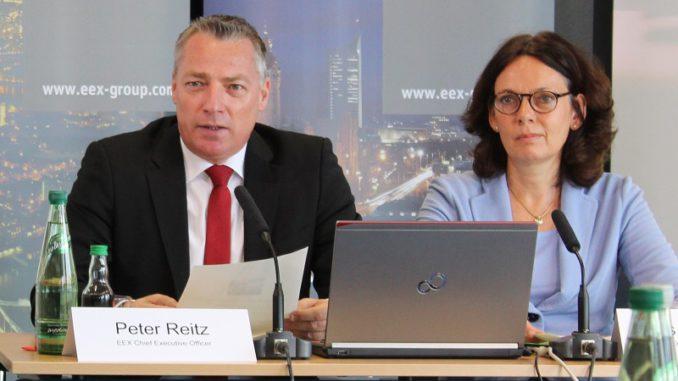 EEX-Chef Peter Reitz und Finanzvorstand Iris Weidinger streben für 2018 ein neues Rekordergebnis an - nach einem kleinen Dämpfer für das vergangene Jahr. Foto: Urbansky