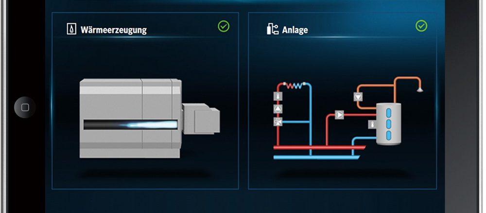 Visualisierung einer digitalen und smart eingebundenen Heizung. Grafik: Buderus