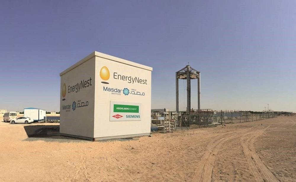 Energynest-Betonspeicher am Masdar-Institut in Abu Dhabi. Bisher bewies er in über 1.000 verschleißfreien Ladezyklen seien Praxistauglichkeit. Foto: Energynest