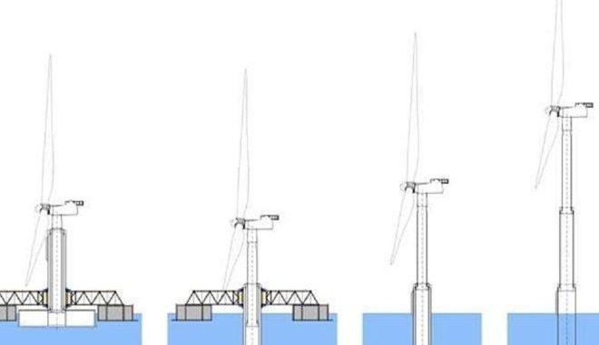 Während des Transports ist der Turm der Windkraftanlage eingefahren. Vor Ort wird er dann auf volle Höhe gebracht, während sich Teile der Plattform als Fundament absenken. Grafik: Esteyco