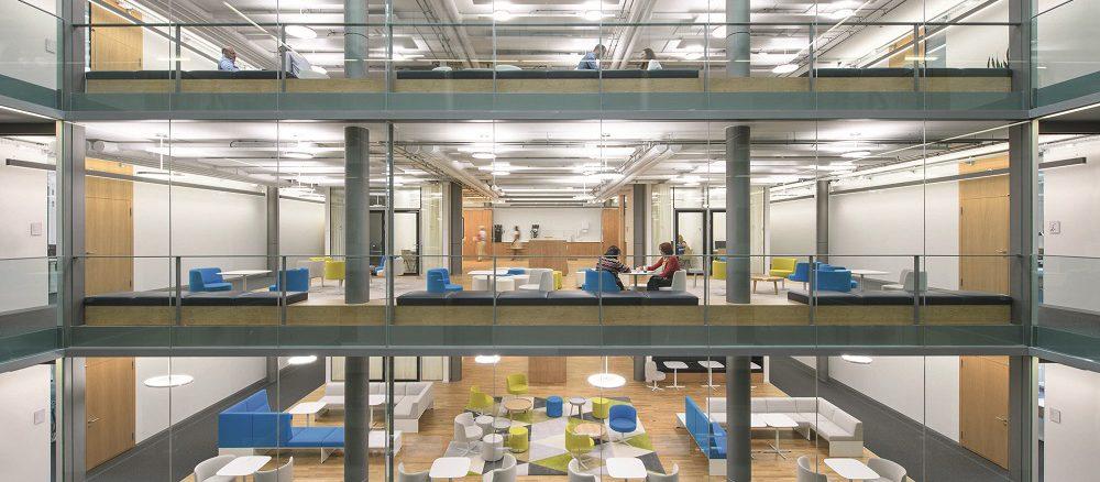 Licht am Arbeitsplatz soll und kann, wenn es biologischen Regeln folgt, auch für Wohlbehagen sorgen. Das steigert die Produktivität und senkt den Krankenstand. Foto: Waldmann