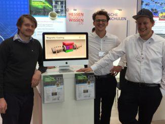 Dimitri Benke, Timur Sirman und Max Fries (v.l.) gründeten MagnoTherm Solutions und bauen Kühlmöbel, die auf Grundlage des magnetokalorischen Effektes arbeiten. Foto: MagnoTherm Solutions