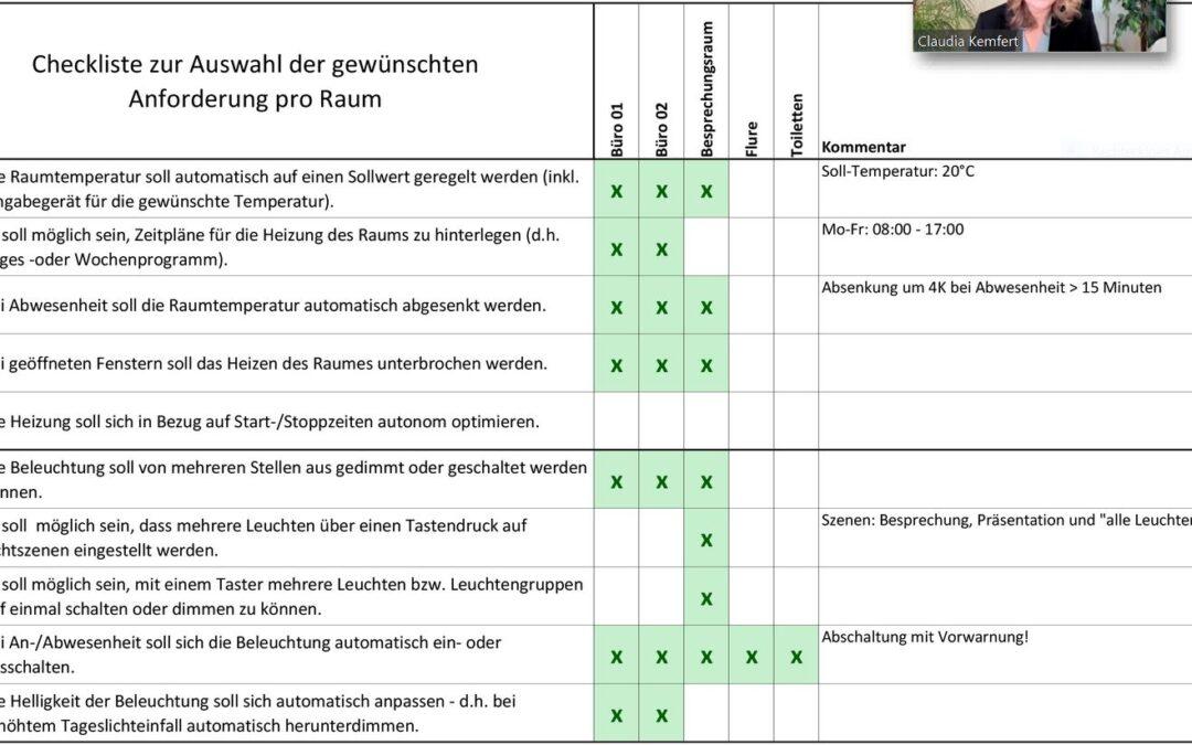 Smart Home: Excel-Checkliste zur Ermittlung der Anforderungen aus Nutzersicht